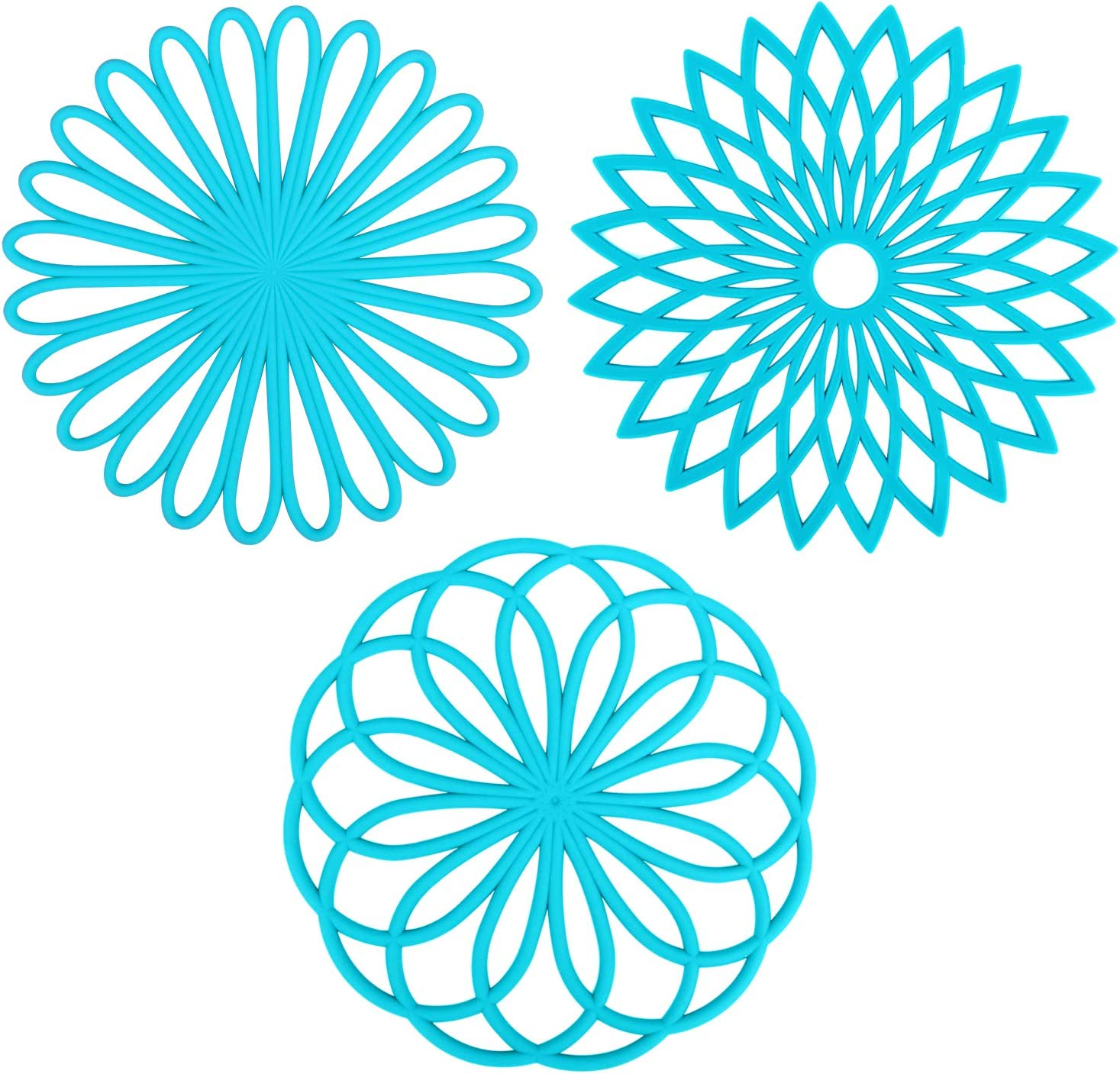 Multi-functional Silicone Trivets for hot dishes and Cookware,Flexible Carved trivets Mats for hot pots and pans - Durable Non Slip Coasters (Set of 3,Light Blue)