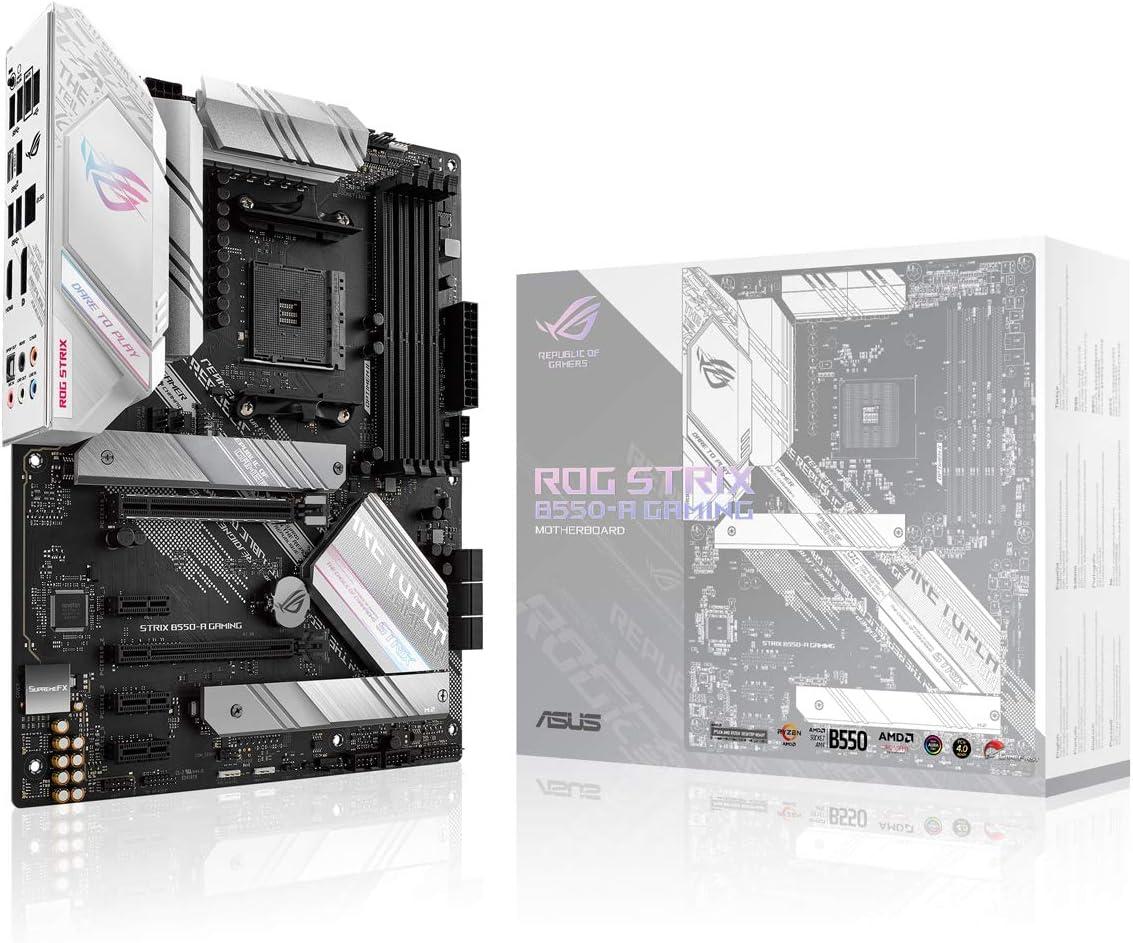 ASUS Rog Strix B550-A Gaming - Placa Base de Gaming ATX AM4 AMD B550 Ryzen (PCIE 4.0, etapas de Potencia agrupadas, Intel 2.5Gb Ethernet, Dos M.2 con disipadores, SATA 6 Gbps, Aura Sync RGB)