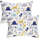 IBraFashion Kids Toddler Pillowcases 2 Packs Boy 100% Cotton 14x19 Fits Toddler Bedding Pillow 14x19, 13x18 Small Pillow (Blue Dinosaurs)