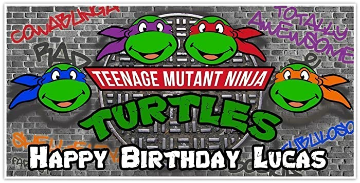 Age Mutant Ninja Turtles Birthday Banner Personalized Party Backdrop Decoration