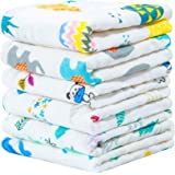 NTBAY 6 Layers of Baby Washcloths Natural Muslin Cotton with Cartoon Printed Design Newborn Baby Face Towel Perfect Gifts Set of 6 Extra Soft Breathable 10x10 inches