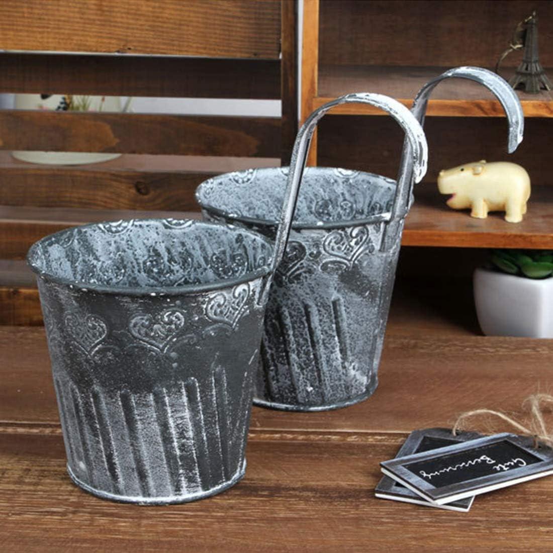 COOLAPA Macetas, 2 barriles de hierro, cubo de metal, mini cubeta para caramelos, cubos de manualidades, maceta floral