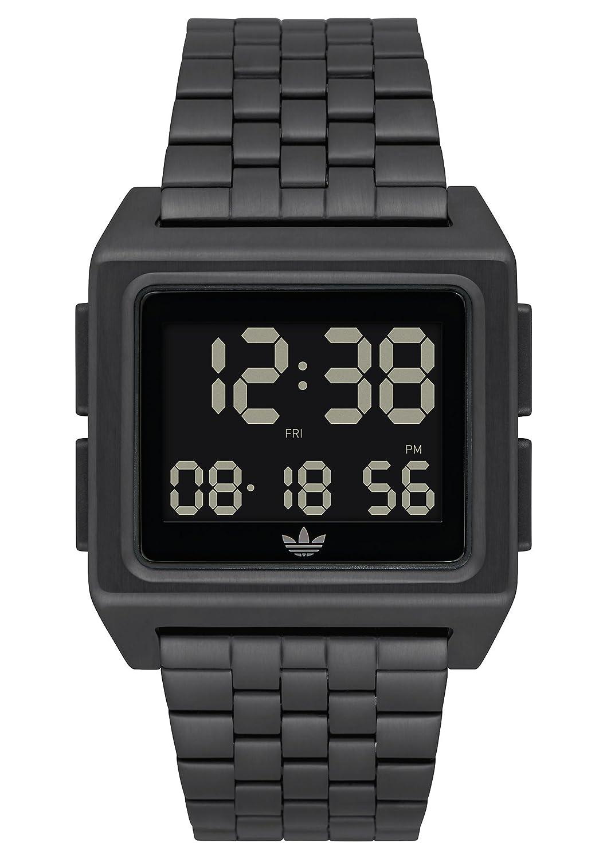 Adidas Watchesアーカイブ_ m1。メンズ70のスタイルステンレススチールDigital Watch with 5リンクブレスレット(36 mm) ブラック B07CGWXL75 ブラック ブラック
