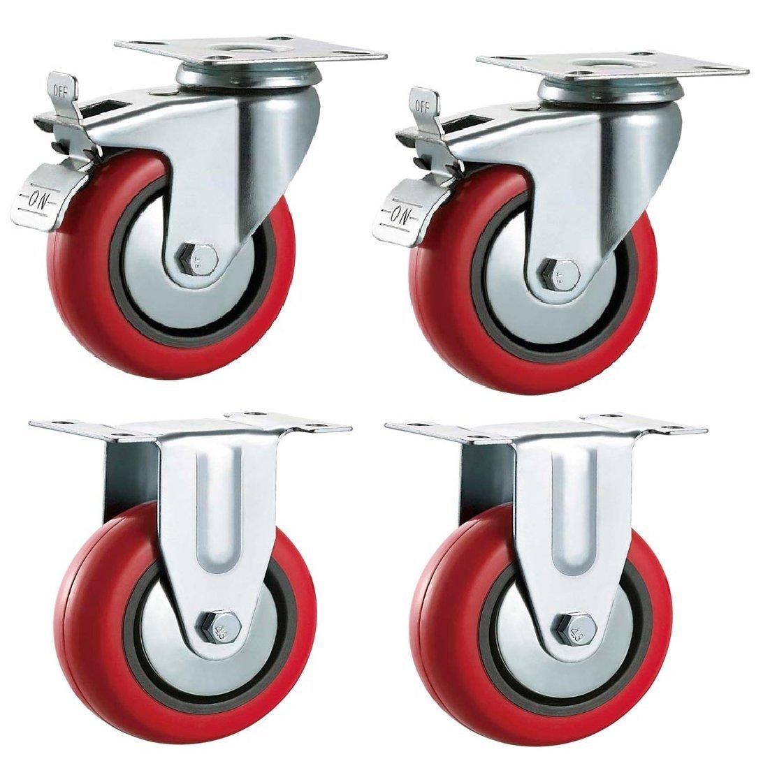 /muebles /Max 500/kg por Set aparato y equipo ruedas por Bulldog ruedas/ / /resistente/ 125/mm giratorio con freno y fija ruedas de poliuretano sint/ética rojo
