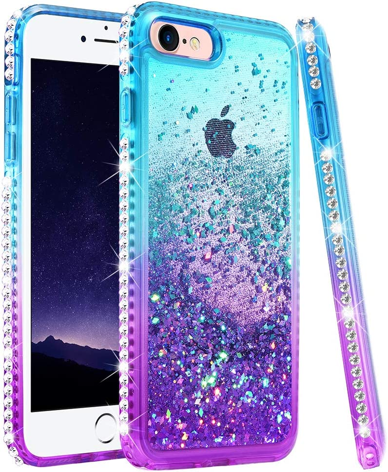 """Ruky iPhone 8 Case, iPhone SE 2020 Case, iPhone 7 Case for Girls Women, Colorful Quicksand Series Glitter Bling Diamond Liquid Floating TPU Girly Case for iPhone 6/6s/7/8/SE 2020 4.7"""" (Teal Purple)"""