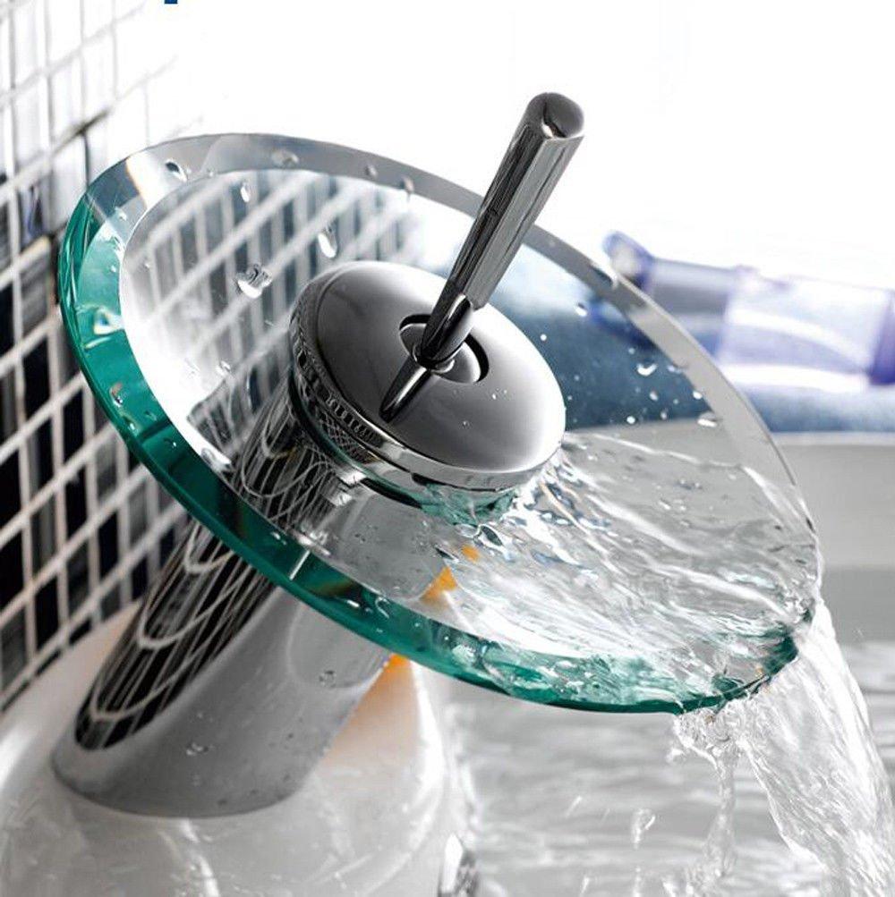 MEIBATH Waschtischarmatur Badezimmer Waschbecken Wasserhahn Küchenarmaturen Glas Wasserfall Kupfer Warmes und Kaltes Wasser Küchen Wasserhahn Badarmatur