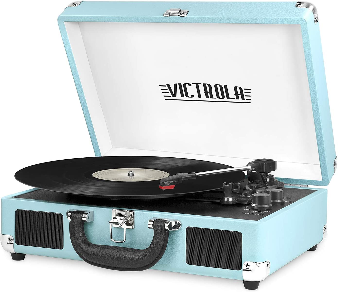 Victrola bluetooth portable record player in light blue color case.