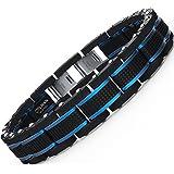 Coolman joyas para hombre pulseras Acero inoxidable azul & negro ajustable 8 - 9 Inch (con cierre de caja de regalo)