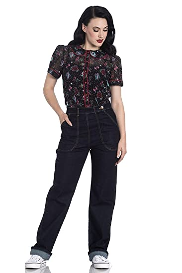 Rosie the Riveter Costume & Outfit Ideas Hell Bunny Weston Denim Jeans 40s 50s Vintage Retro Rockabilly Trousers Pants $59.90 AT vintagedancer.com