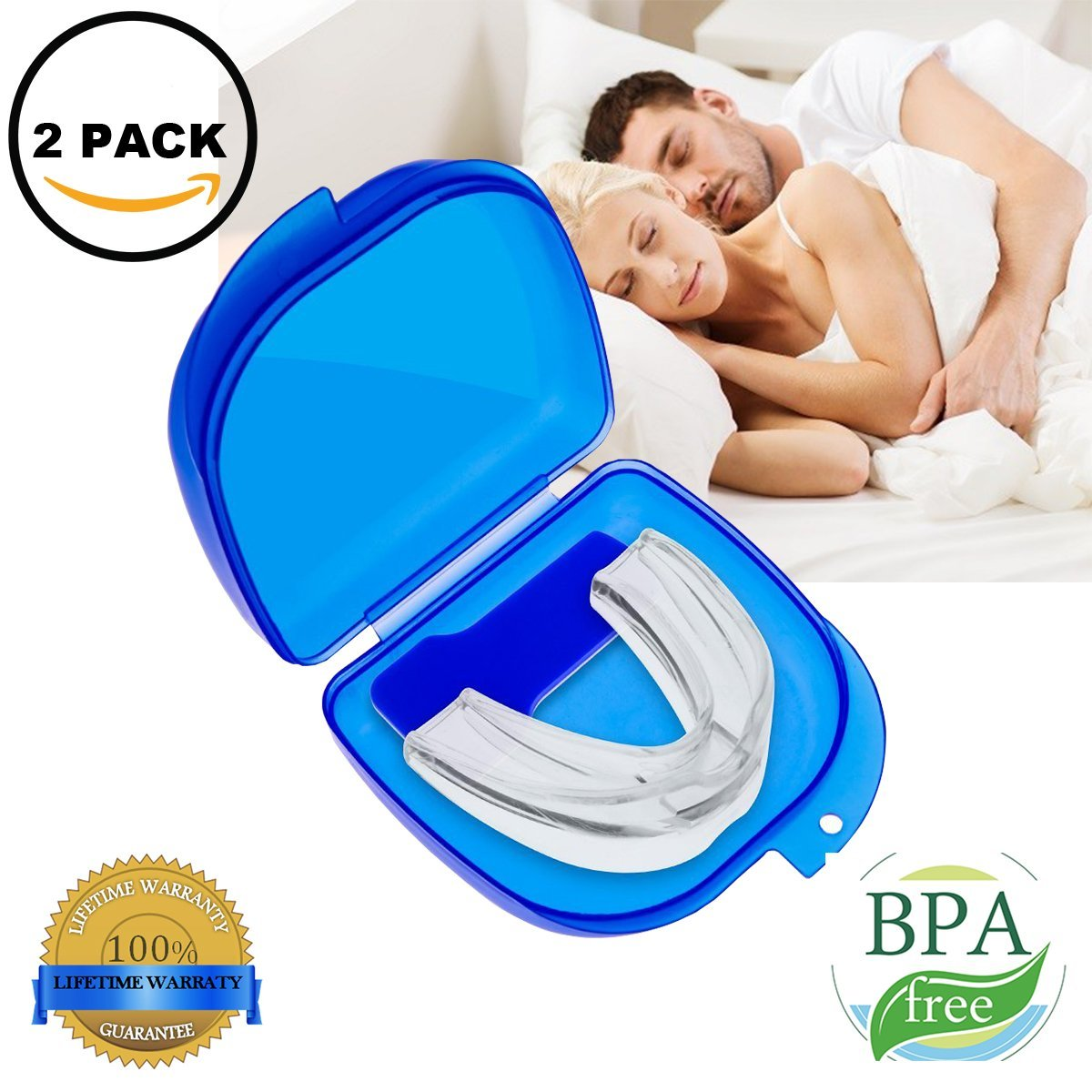 Mouth Guard for Grinding Teeth, Snoring Mouthpiece, Night Guards for Teeth Grinding, Snoring Solution, Dental TMJ Mouth and Bite Guard for teeth grinding 2 Pack (white)