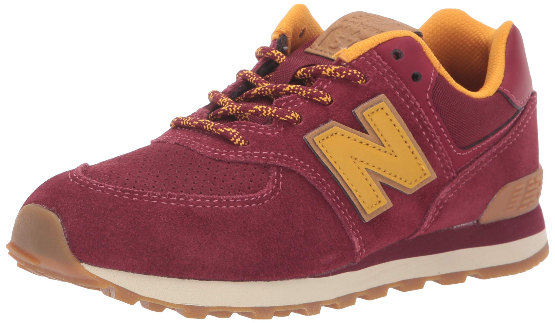New Balance Boys' Iconic 574 Sneaker, Mercury Red/Gold Rush, 7 M US Toddler