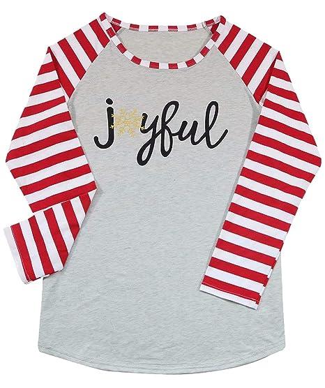 Amazon.com  JINTING Striped Graphic Christmas Shirts for Women Christmas  Joyful Shirts Women Christmas Raglan Baseball Shirt Plus Size  Clothing 6df6ac792