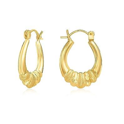 Amazon Com Mcs Jewelry 10 Karat Yellow Gold Design Shrimp Hoop