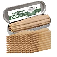 COOL KNIGHT Pre-Rolled Cones 1 1/4 Size Organic Cigarette Rolling Papers with Tips (78mm/3inch) (50PCS)
