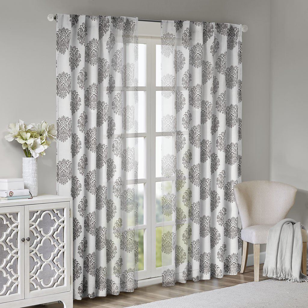 Addison Anthro Burn Out Sheer Curtain Blue 84 Panel JLA Home WIN40-087