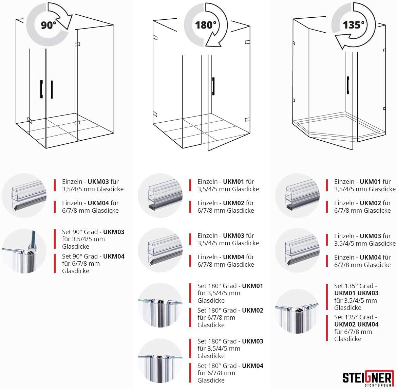 2 pezzi 180 gradi STEIGNER Set di Guarnizioni Magnetiche per Box Doccia UKM02 196 cm 6//7//8 mm