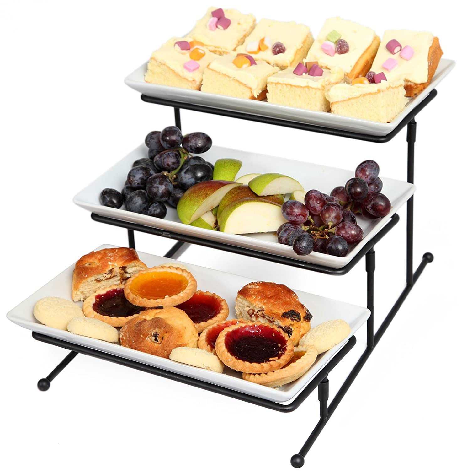 Super Amazon.com: Kenley 3 Tier Serving Tray Tiered Stand - Three-tiered  HY37