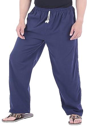 429c631776 CandyHusky Mens Cotton Loose Joggers Casual Lounge Pajama Gym Workout Yoga  Pants (Dark Blue)