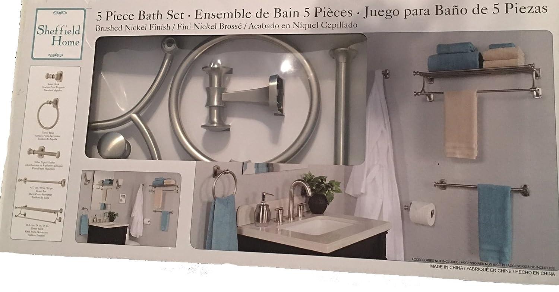 Sheffield Home 5 Piece Bath Set, Brushed Nickel Finish