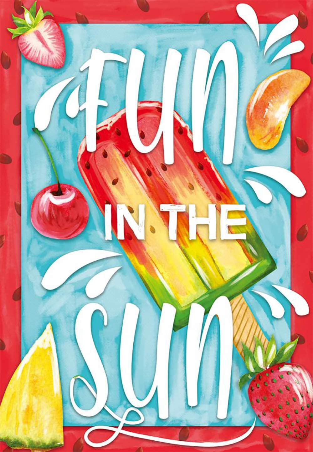 Texupday Fun in The Sun Watermelon Ice Cream Popsicles with Fruits Decor House Flag Summer Outdoor Yard Flag 28