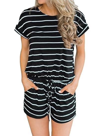 e51e8b94 Amazon.com: MIHOLL Women's Summer Striped Jumpsuit Casual Loose ...