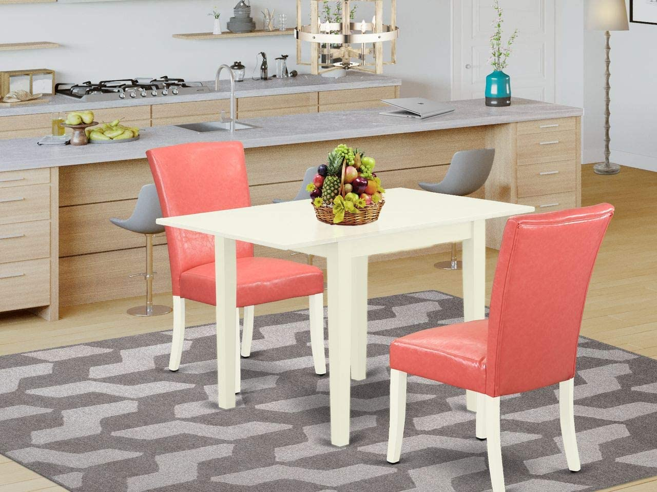 East West Furniture Dining Table Set, Linen White