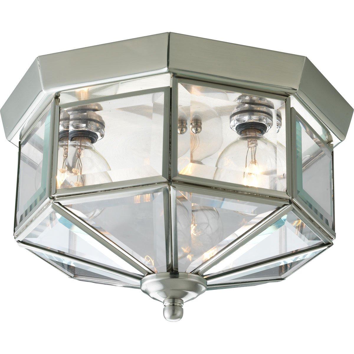 brushed nickel flush mount light modern progress lighting p578809 octagonal closetoceiling fixture with clear bound beveled glass brushed nickel hall light ceiling amazoncom