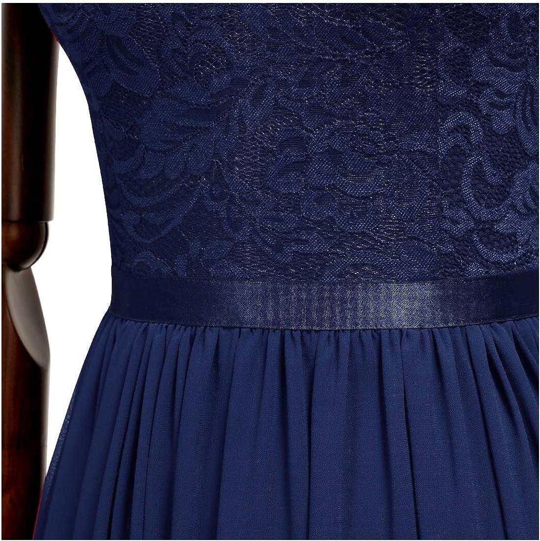 MIUSOL Vintage Pizzo Chiffon A-Line Sera Festa Vestito da Donna Lungo