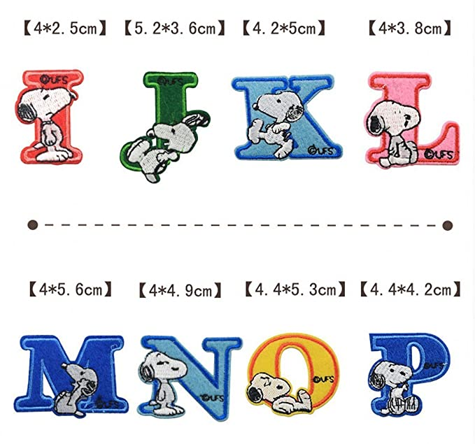 chengyida 26 Alphabet Buchstabe A bis Z Snoopy Patches – gesticktes ...