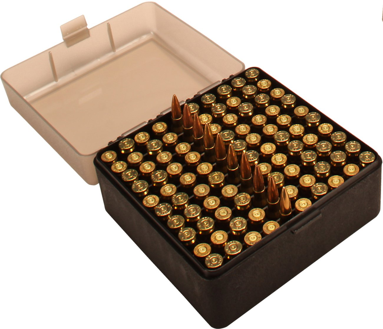 MTM 100 Round Flip-Top Rifle Ammo Box 22-25, 308 W, 243 (Clear Smoke/Black)