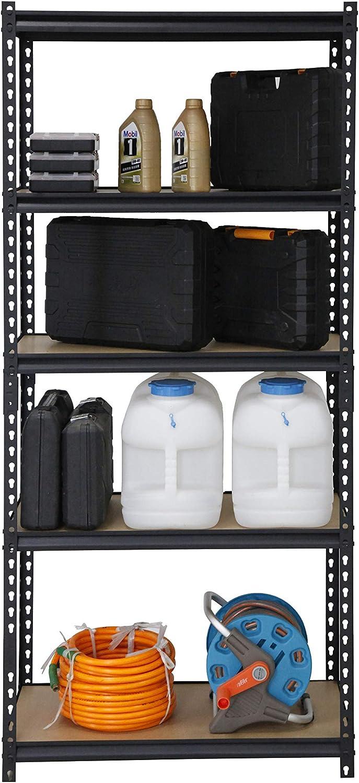 BAAB ORGANIZING Garage Shed Storage Shelving Unit,183x 90 x 40 cm Heavy Duty Metal Racking 175KG Per Shelf Black 5 Tier