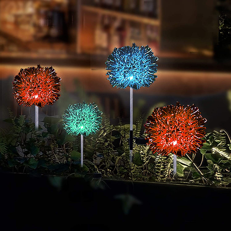 Solar Garden Lights Outdoor,Twosnails LED Dandelion Garden Lights,Waterproof Landscape Decoration Lighting,Color-Changing ,Beautiful Solar Flower Lights for Flowerbed Yard Decorative Walkway 4Pack