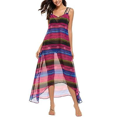 SE MIU Women Casual Sleeveless Print V Neck Chiffon Robe Beach Bikini Cover Up Dress