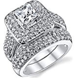 Double Fair Women's Gorgeous Princess Cut Cubic Zirconia Promise Wedding Ring Set Engagement Bridal Band White Gold Plated