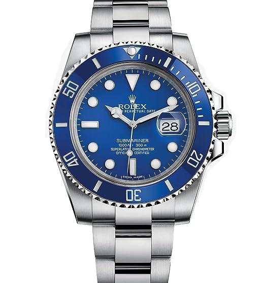 Rolex hombre 116619 Submariner oro blanco reloj w/esfera de color azul