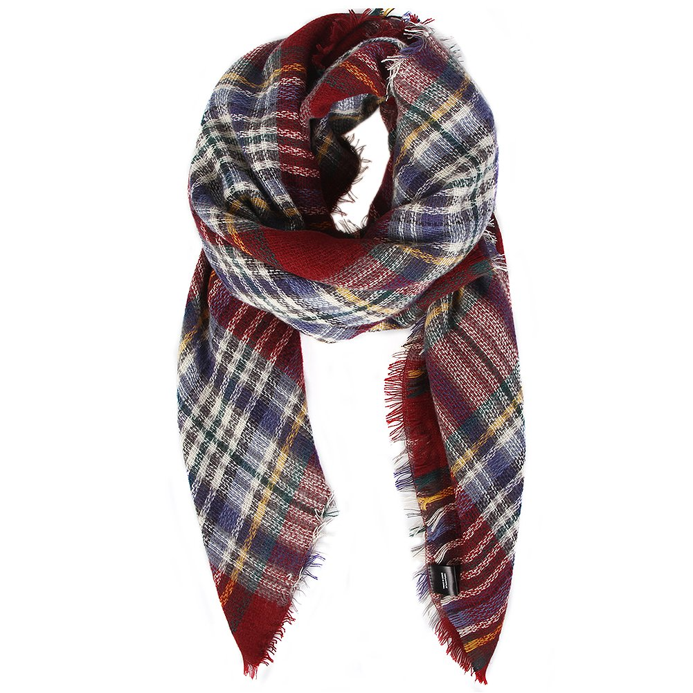 Plaid Blanket Scarf Women Big Square Scarf for Winter Warm Tartan Checked Shawl