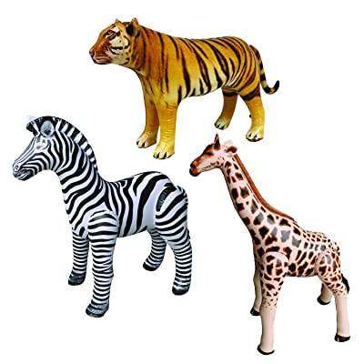 Jet Creations Safari 3 Pack Giraffe Zebra Tiger Inflatable Air Stuffed Plush Animal Great for Pool, Party Decoration Toys and Gifts, Size 32 to 40 inch, JC-GZT: Toys & Games