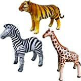Jet Creations Safari 3 Pack Giraffe Zebra Tiger Inflatable Air Stuffed Plush Animal Great for Pool, Party Decoration…