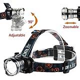 CREE LEDヘッドライト 新2000ルーメン 単三電池対応 超軽量タイプ 大型光学レンズ付ズーム 点灯3モード