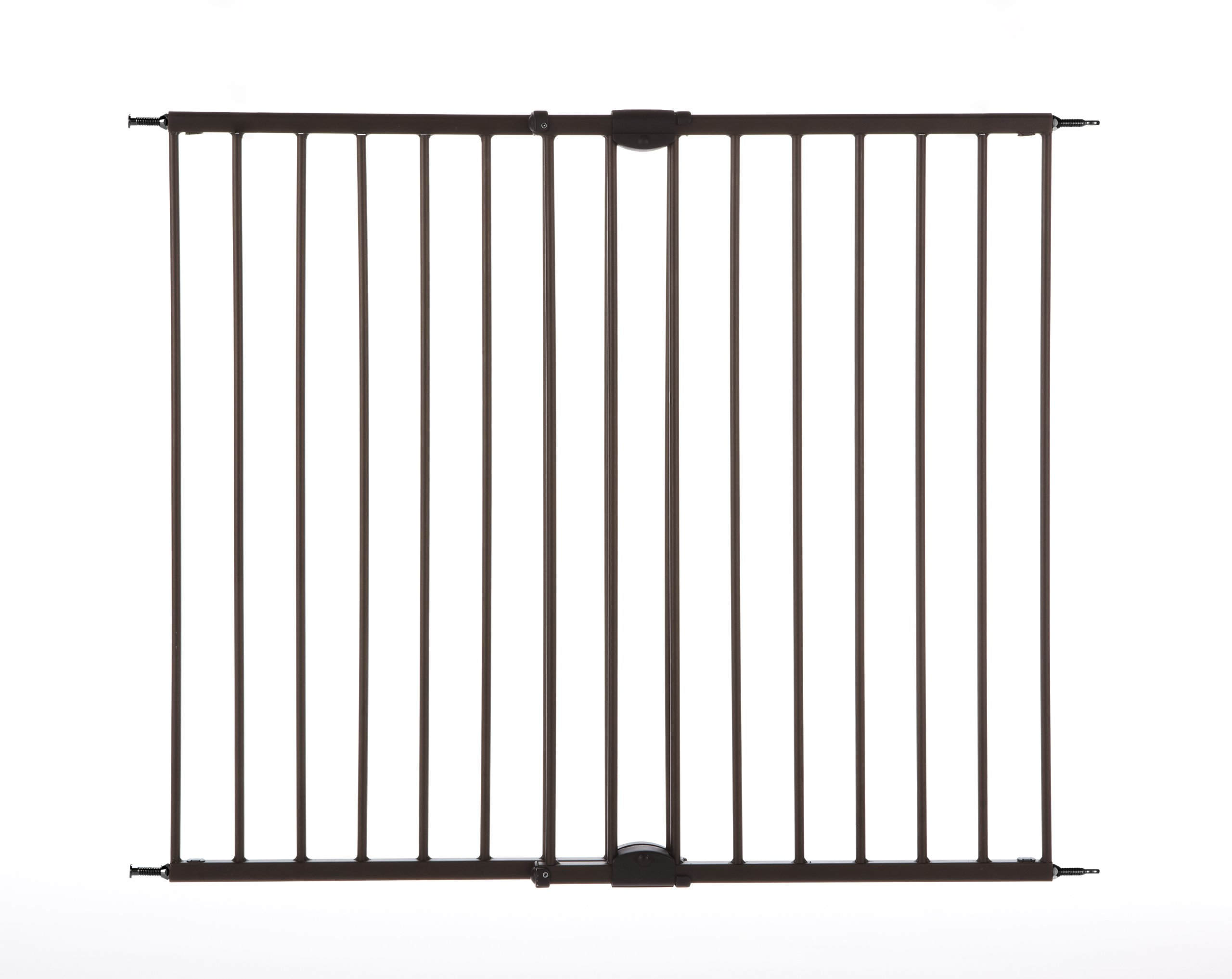 ''Easy Swing & Lock Gate'' by North States: Ideal for standard or wider stairways, swings to self-lock. Hardware mount. Fits openings 28.68'' to 47.85'' wide (31'' tall, Bronze)