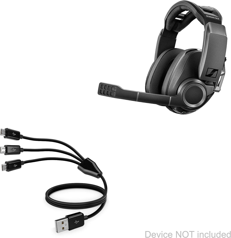 Jet Black Sennheiser GSP 670 Cable AllCharge 3-in-1 Cable for Sennheiser GSP 670 BoxWave
