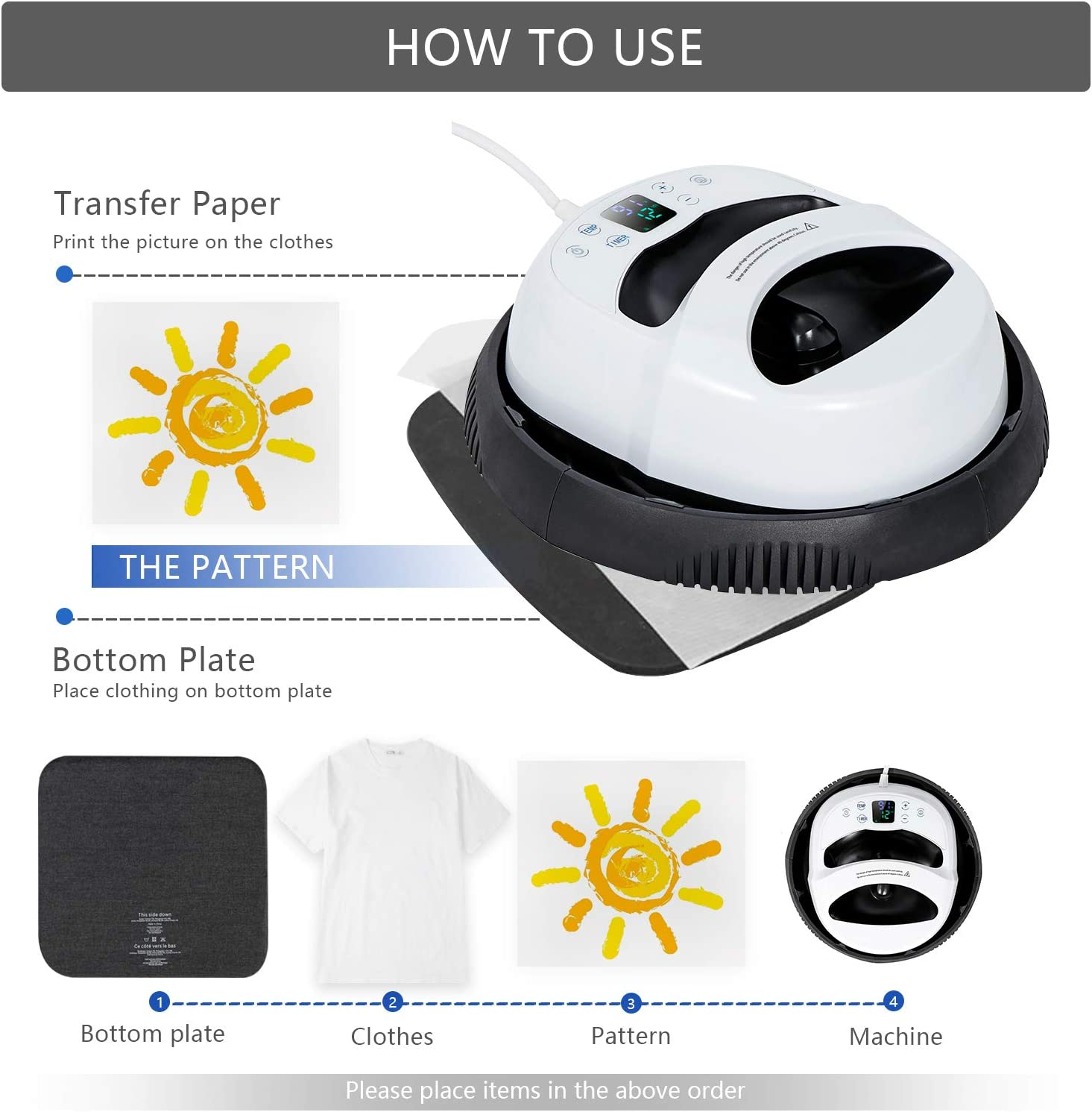 """Angoo Heat Press,12/"""" X 10/"""" Heat Press Machine for t Shirts Touch Screen Easy Press Portable Automatic T-Shirt Press Printing Machine with Vibration Functionfor for T-Shirts,Bag,Mouse Pad,Phone Shell"""