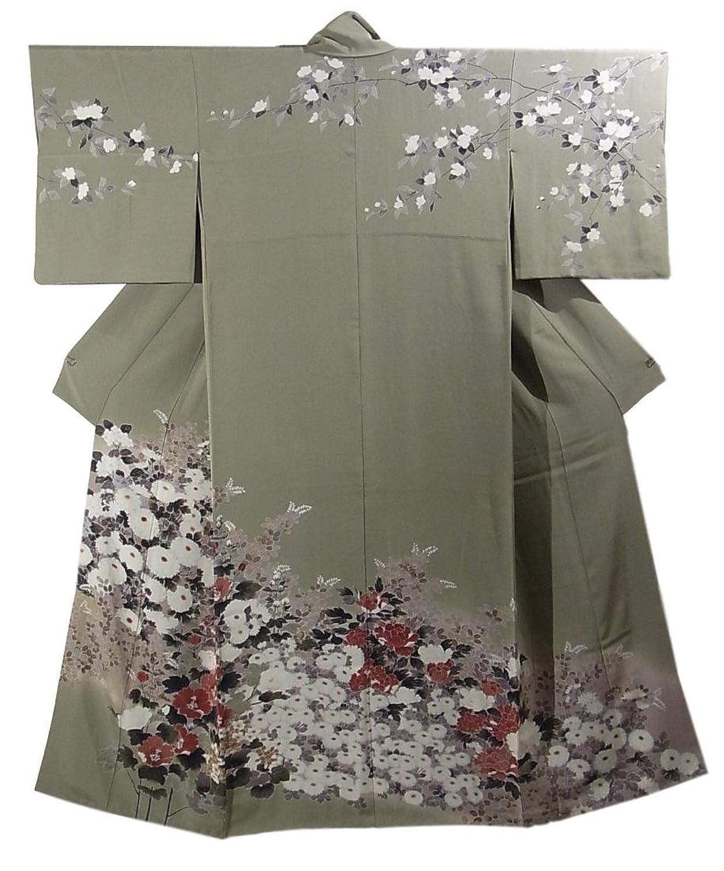リサイクル 着物 訪問着 咲き渡る花々 裄64.5cm 身丈158cm 正絹  袷 B07FVQBMHC  -