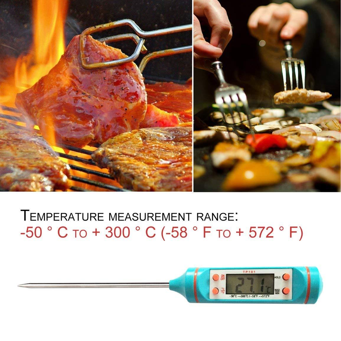 TP101 Cocinar Pantalla LCD de la Carne del alimento Term/ómetro Digital de Acero Inoxidable Sonda de Cocina Horno Barbacoa l/íquidos Suministros de Cocina
