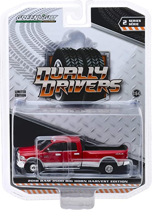 Ram 3500 Truck >> 2018 Dodge Ram 3500 4x4 Big Horn Pickup Truck Harvest Edition Red Dually Drivers Series 2 1 64 Diecast Model Car By Greenlight 46020 D