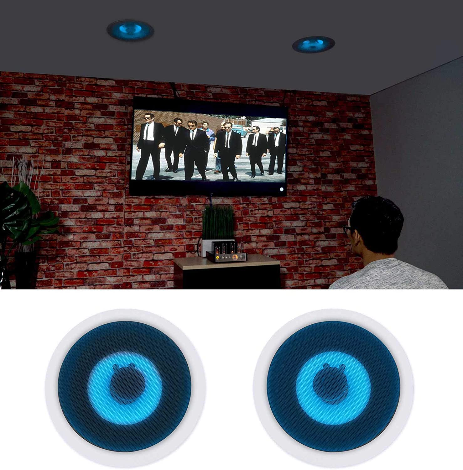 "(2) Rockville HC85B-LED 8"" 700 Watt in-Ceiling Home Theater Speakers w/Blue LED"