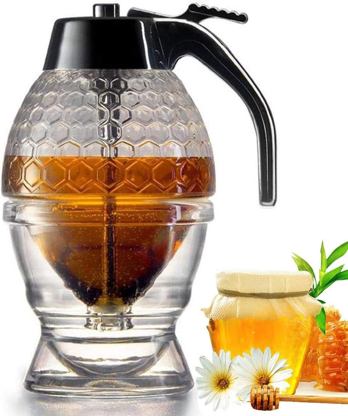 Beautiful Glass Honey Pot Goandwell Honey Dispenser No Drip Glass Syrup Dispenser Glass Handmade Glass Honey Jar with Stand