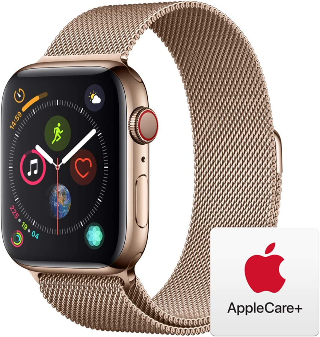 Apple Watch Series 4 (GPS + Cellular, 44mm) - Gold Stainless Steel Case with Gold Milanese Loop with AppleCare+ Bundle