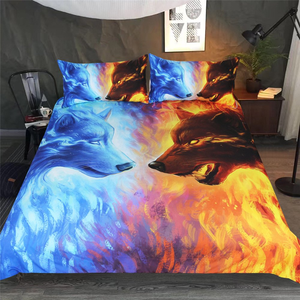 DICSSIN 3D Printing Quilt, 3Pcs Bedding Polyester Animal Wolf Light Weight Queen/King US Size (color1, Queen) by DICSSIN