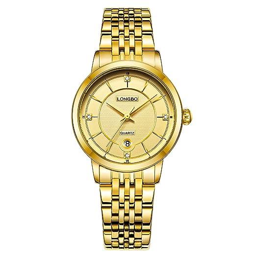 reloj de cuarzo brazaletes de oro dama simple banda reloj de pulsera pareja de lujo de las mujeres de diamantes de imitación incrustaciones de moda: ...
